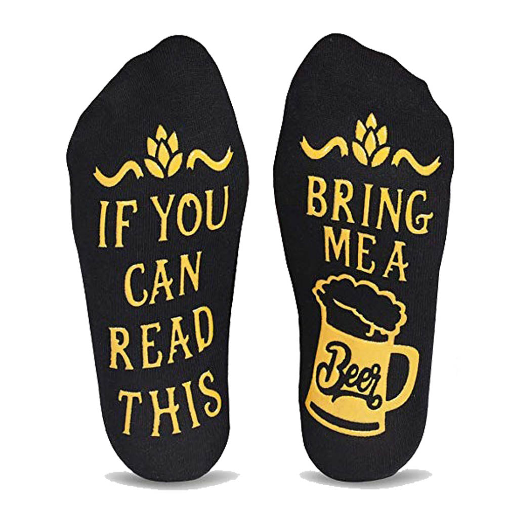Anti Slip Rubber Letter If You Can Read This Bring Me A Beer Appliqued Middle Socks