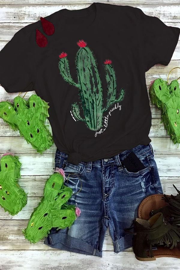Cactus Print Crew Neck Short Sleeves Casual T-shirt
