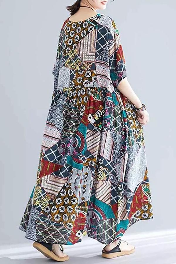 Floral Colorblock 3/4 Sleeve Maxi Dress