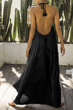 Solid Holiday Pleated Backless V-neck Maxi Dress