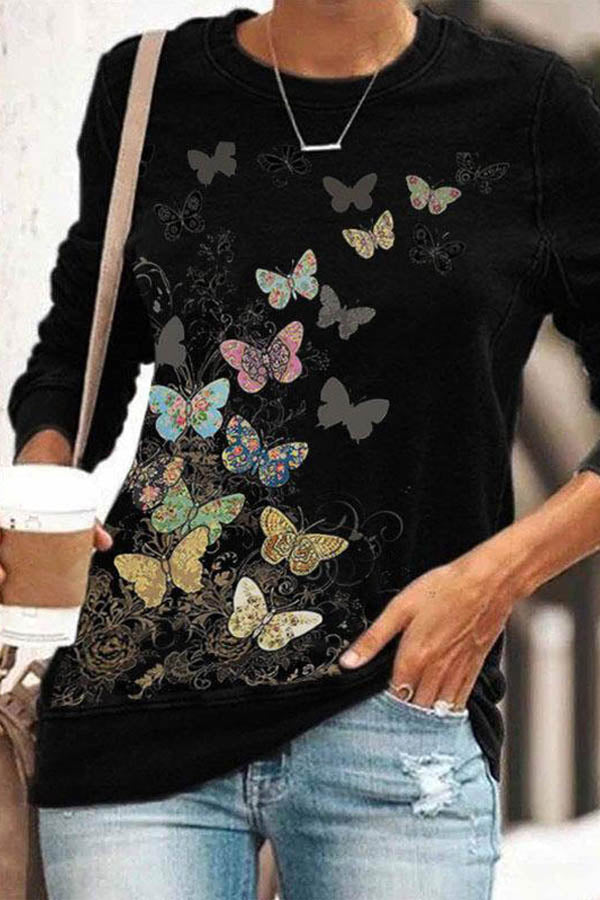 Gradient Lifelike Butterfly With Different Floral Pattern Print Sheath T-shirt
