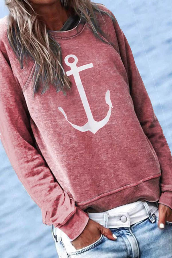 Anchor Print Simple Style Classic Sweatshirt