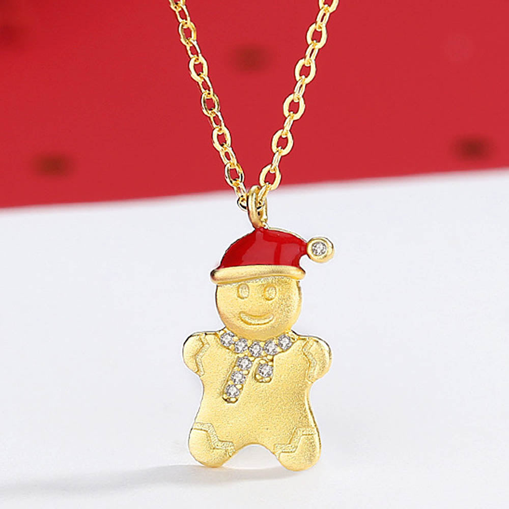 Christmas Lovely Gingerbread Man With Hat Pendant Necklaces