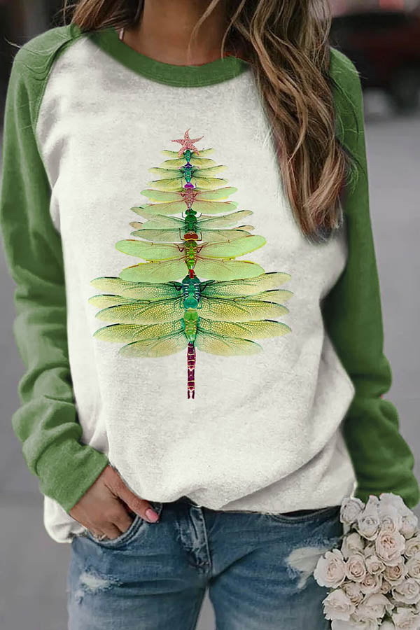 Gradient Green Dragonfly Christmas Tree Print Color-block Raglan Sleeves T-shirt