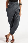 Solid Knot Front Irregular Self-tie Casual Pants