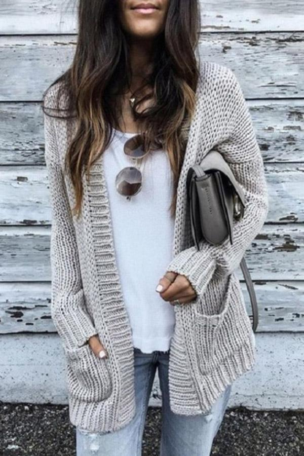 Casual Pockets Knitted  Cardigans