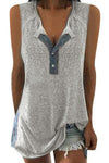 Sleeveless Color-block Buttoned Casual T-shirt