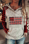 Sports American Flag Plaid Print Raglan Sleeves Drawstring Buttoned Pocket Front Color Block Hoodie
