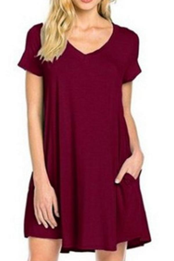 Women Basics V Neck Ruffle Casual Mini Dress