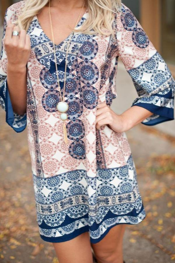 Women Holiday Bohemian Print Mini Dress