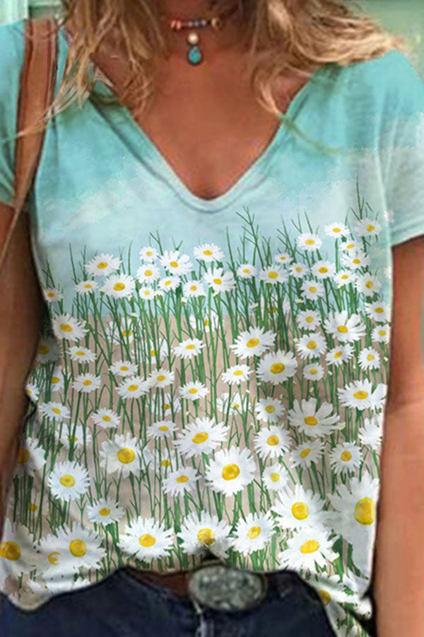 Chrysanthemum Print V-Neck Short Sleeve Casual T-Shirt