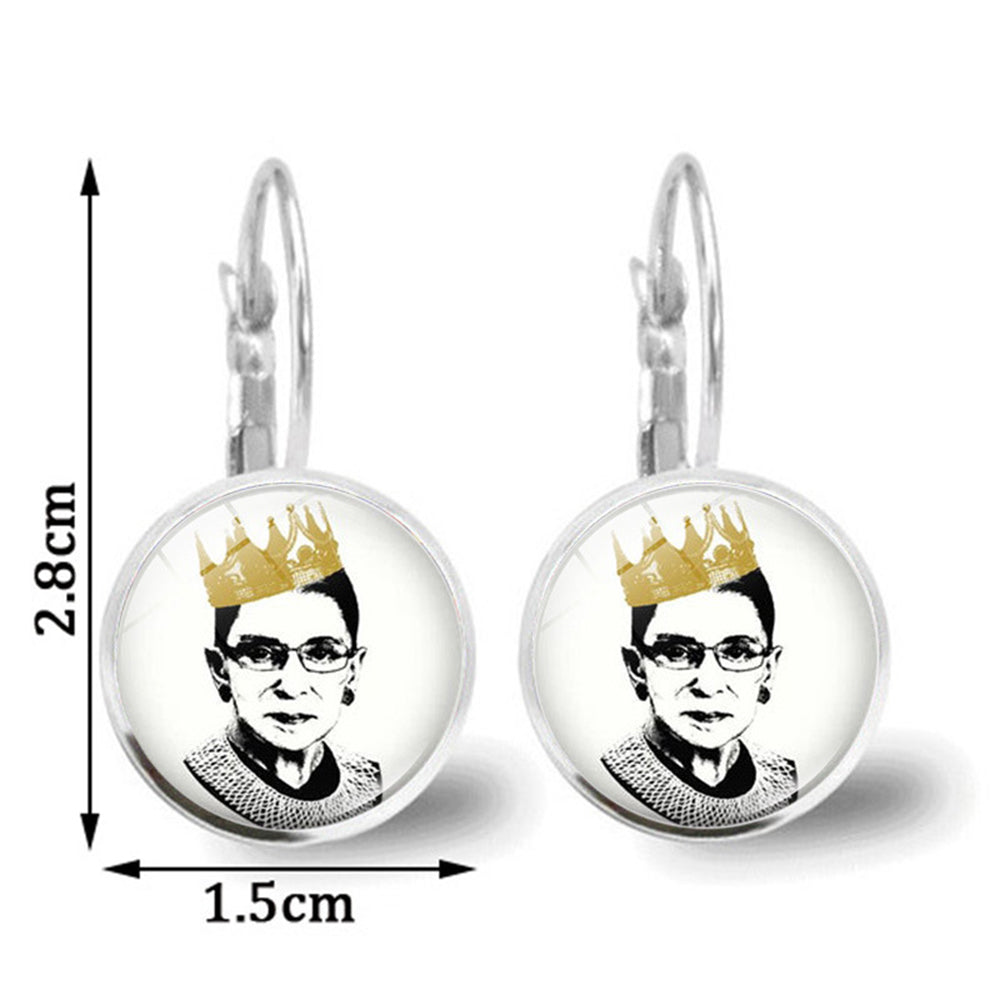 Ruth Bader Ginsburg With Crown Portrait Decoration Vintage Glass Gem Earrings