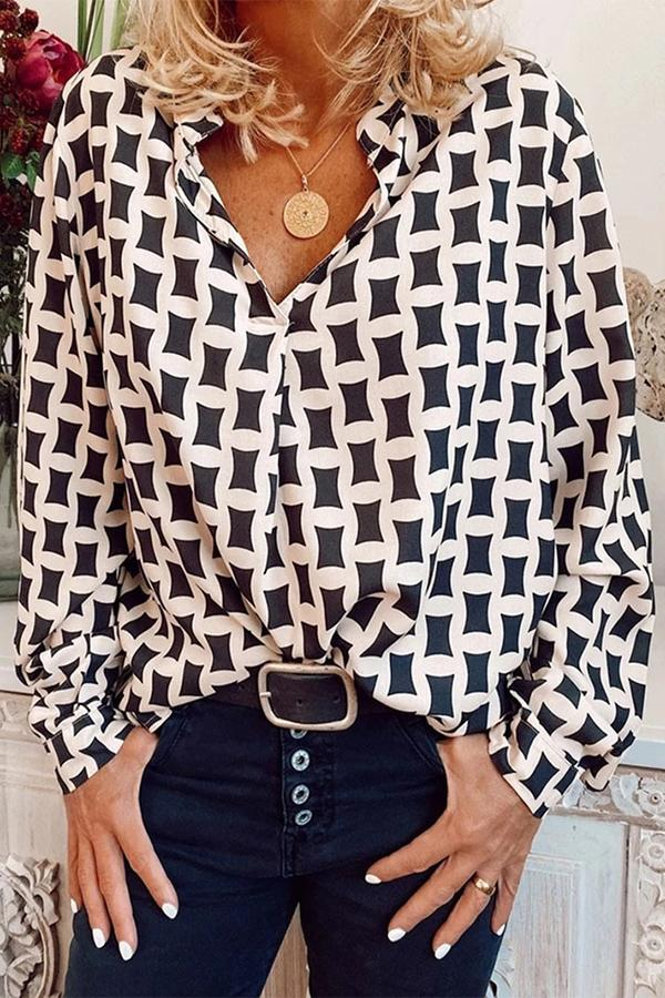 Casual Long Sleeves Printed Blouse