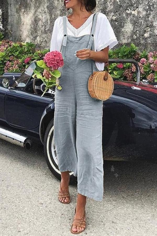 Casual Paneled Solid Sling Overalls Jumpsuit