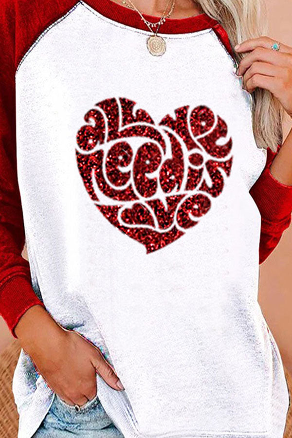 All You Need Is Love Letter With Red Heart Shaped Print Raglan Sleeves Color Block Sweety T-shirt