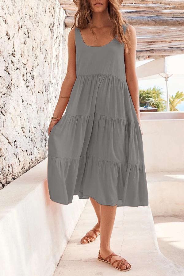 Paneled Solid Sleeveless Pleated Casual Maxi Dress
