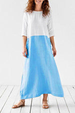 Linen Color-block Solid Maxi Dress