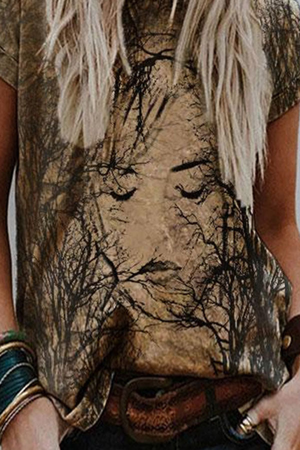 Artistic Abstract Women Character Face With Branches Painting Print T-shirt