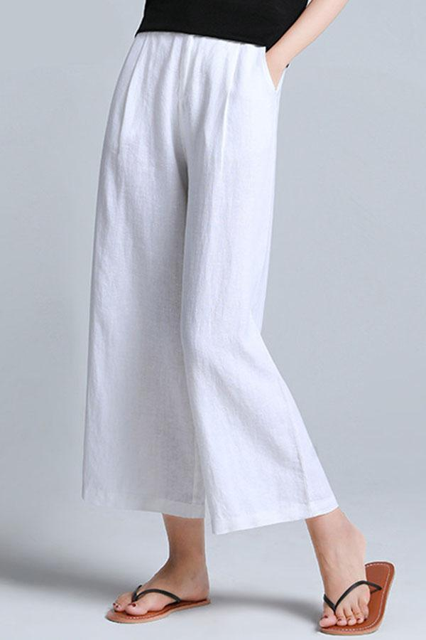 Casual Solid Loose High Waist Pants