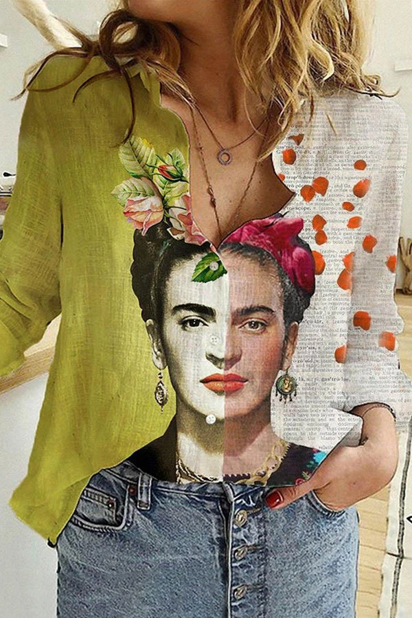 Color-block Oil Color Painting Paneled Frida Kahlo Floral On Head Print Vintage Blouse