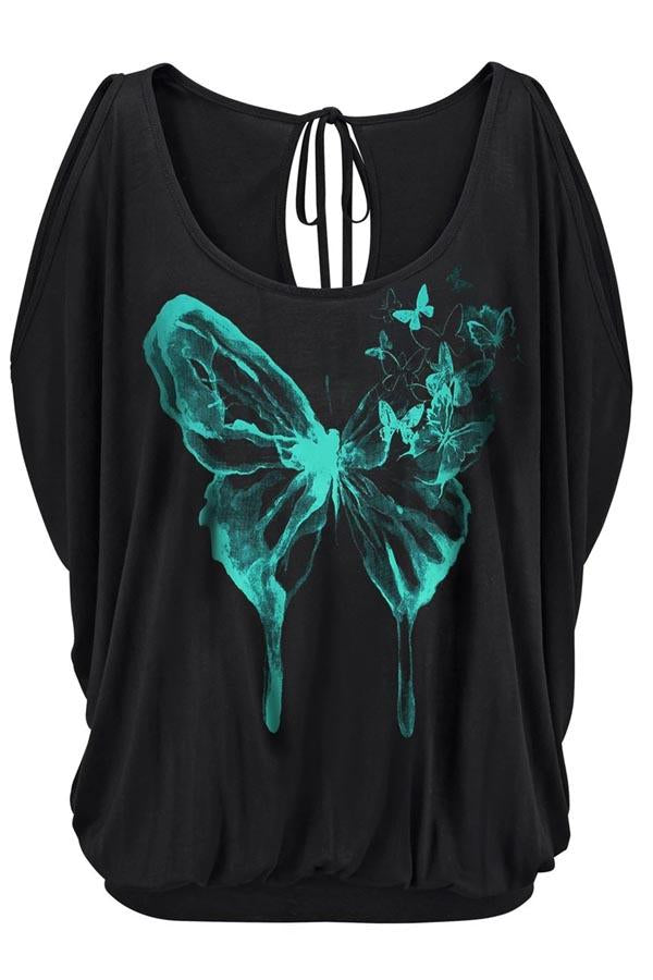 Butterfly Print Cold Shoulder Backless Lace Casual Blouse