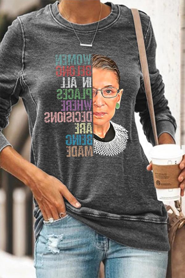Women Belong In All Places Where Decisions Are Being Made Ruth Bader Ginsburg Portrait Print T-shirt