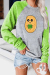 Cartoon Potato Character Printed Round Neck Long Sleeve T-Shirt