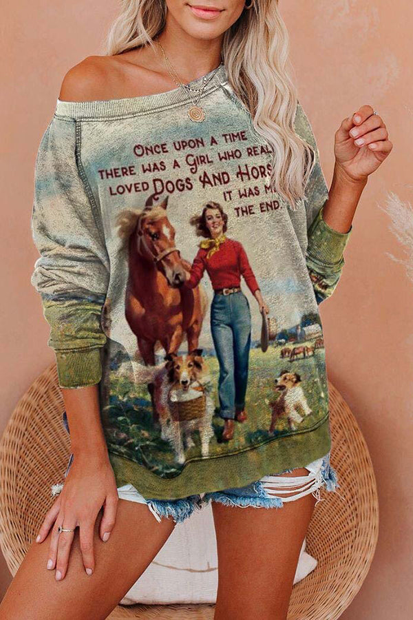 Literary A Beautiful Women With Two Dogs And Horse Print Letter Raglan Sleeves T-shirt