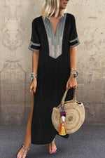 Ethnic Printed Slit Side Maxi Dress