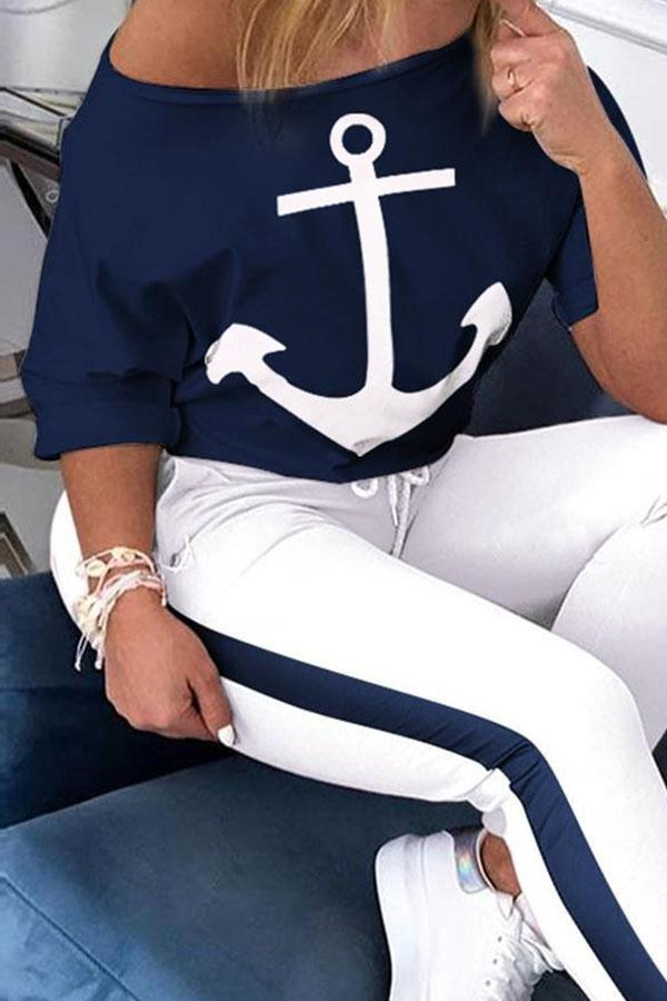 Anchor Print Casual T-shirt With Solid Pants Two-pieces Set