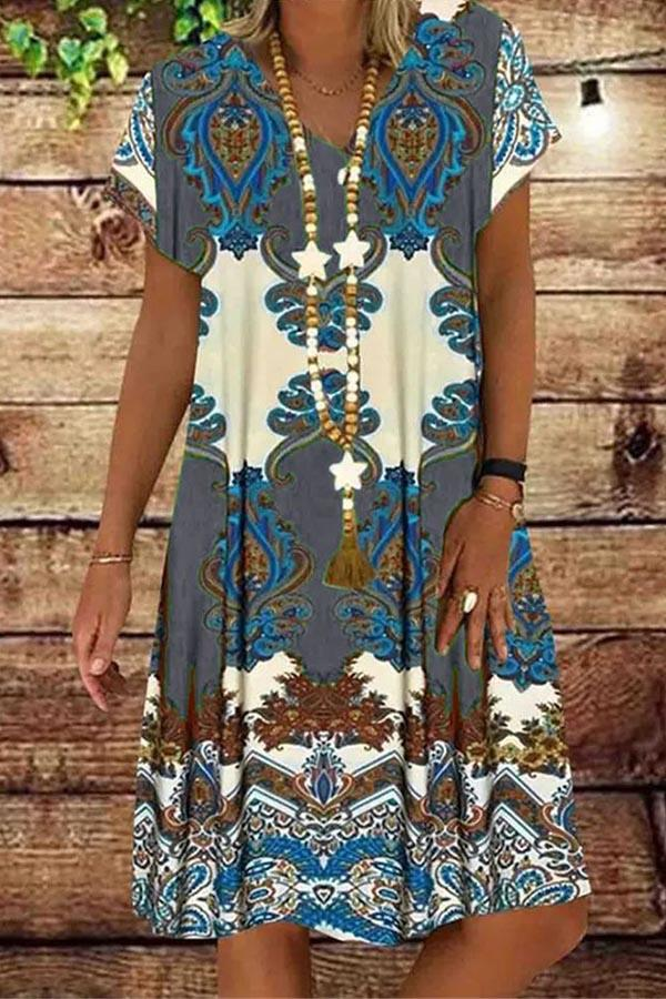 Vintage Print V-neck Short Sleeves Midi Dress