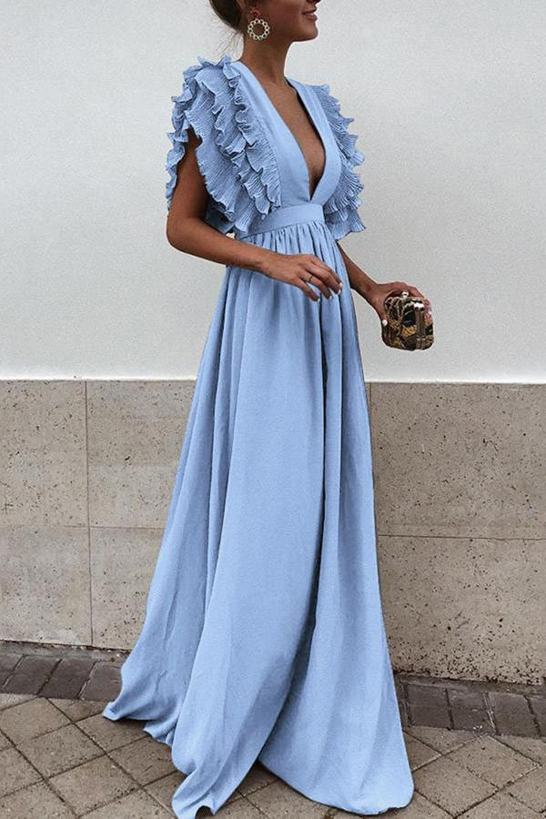 Ruffle Trim V-neck Evening Maxi Dress