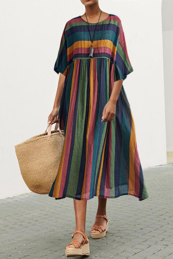 Colorful Casual Vintage Short Sleeves Maxi Dress