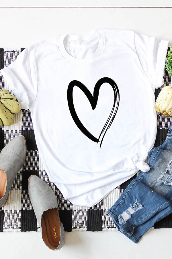 Casual Heart-Shaped Printed Short Sleeve Shift T-Shirt