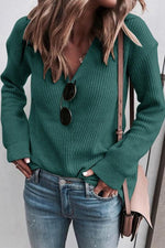 V Neck Long Sleeves Knit Top Sweater