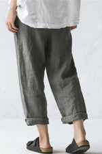 Casual Linen Button Side Pockets Pants