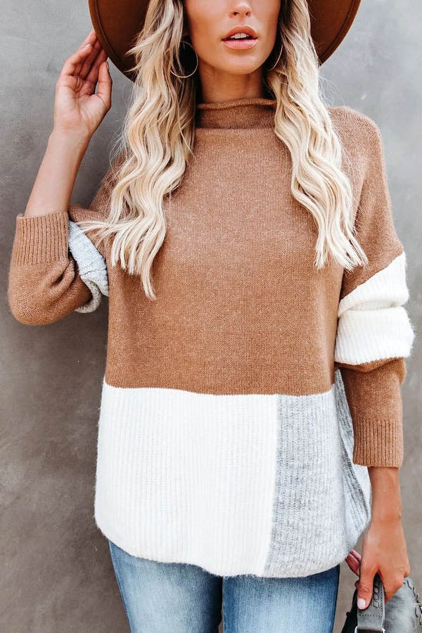 Holiday Color Block Stand Collar Knitted Ribbed Solid Women Sweater