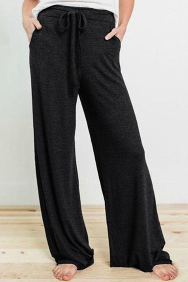 Casual Solid Self-tie Paneled Side Pockets Wide Leg Pants