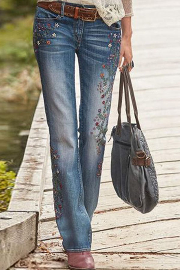Vintage Floral Embroidery Paneled Bell-bottomed Jeans