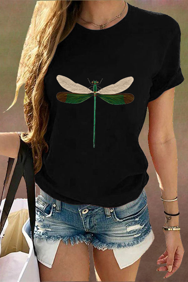 Lively Dragonfly Print Shift Daily Literary T-shirt