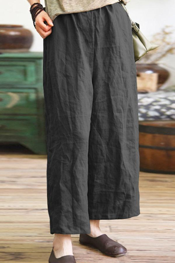 Casual Pockets Linen Trousers