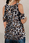 Leopard Print Cold Shoulder Knot Front Casual T-shirt