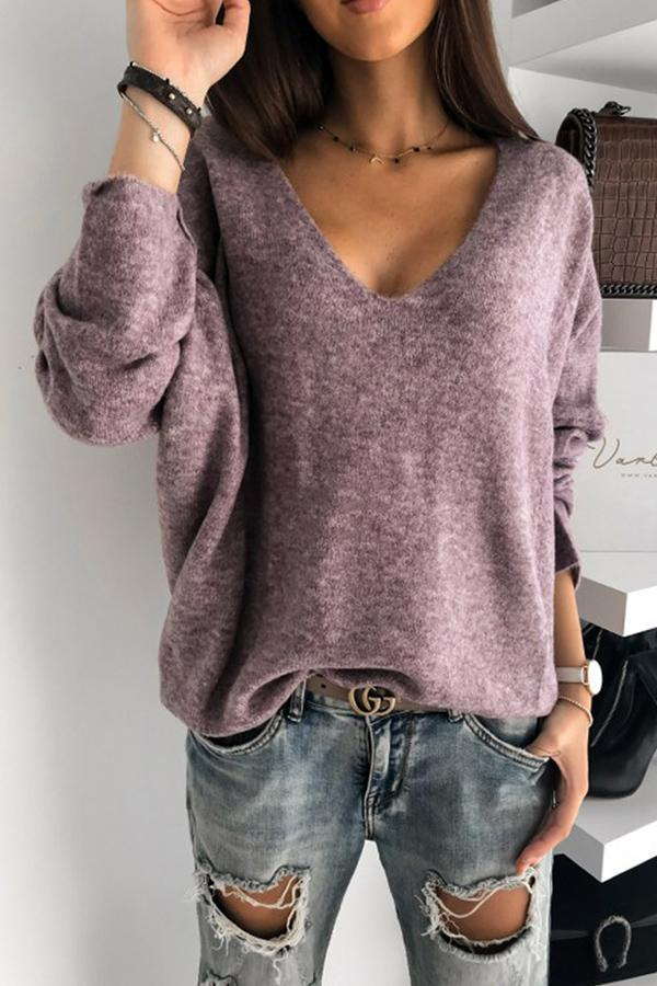 Solid Plunging Neck Casual Knitted Sweaters