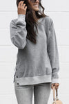 Casual Slit Side Button Design Sweatshirts