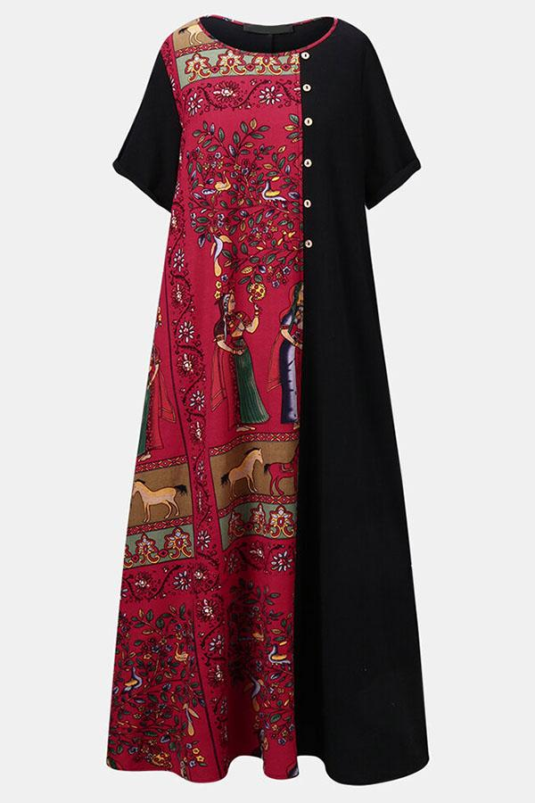 Color-block Graphic Print Buttoned Vintage Maxi Dress