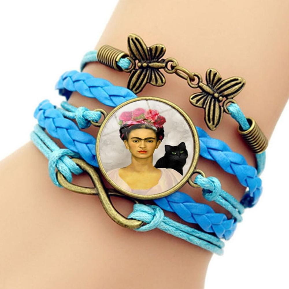 Weave Frida Kahlo Glass Gem Butterfly Decoration Vintage Bracelet