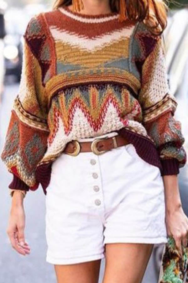Holiday Vintage Geometric Jacquard Knitted Hollow Out Sweater