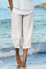 Solid Side Pockets Casual Linen Pants