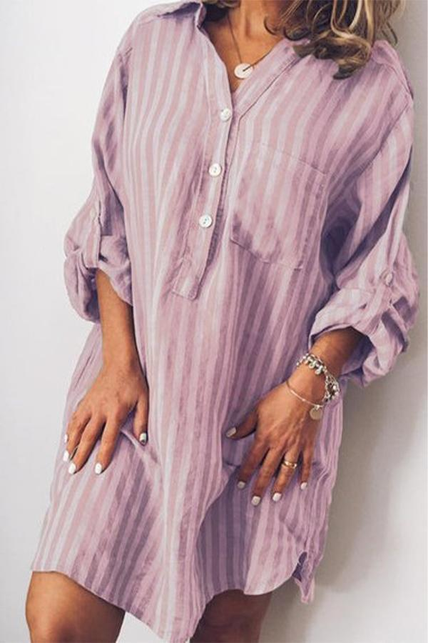 Stripe Button Down Side Pocket Shift Dress