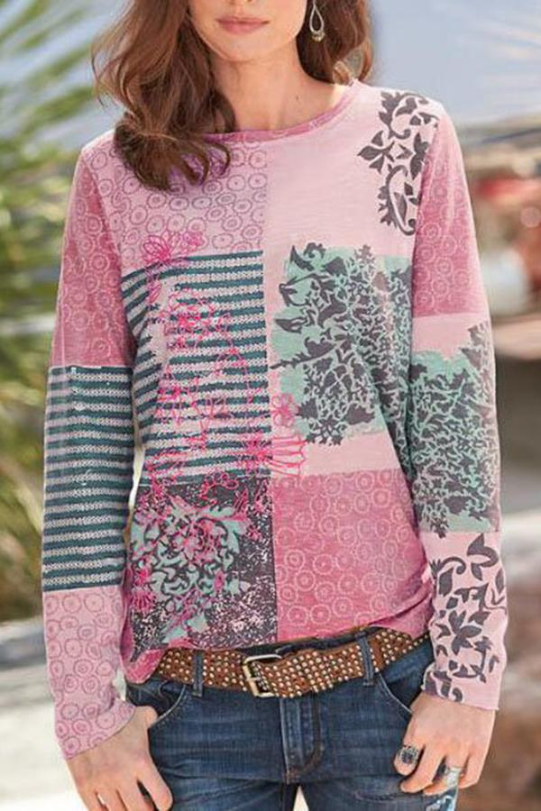 Bohemian Floral Striped Print Color-block Paneled T-shirt